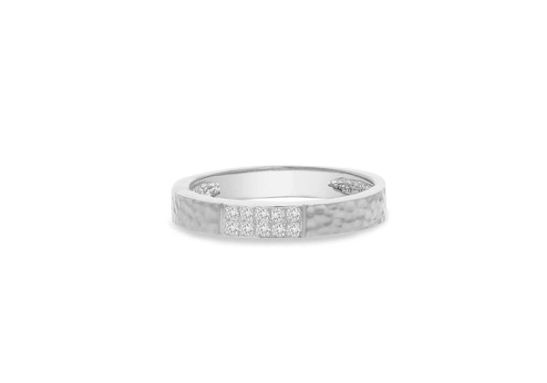 9ct White Gold 0.10ct Diamond Paved Hammered Band Ring