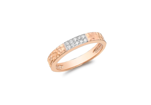 9ct Rose Gold 0.10ct Diamond Paved Hammered Band Ring