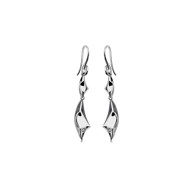 FacetedDrop Earrings Hand-Set With A Diamond Accent