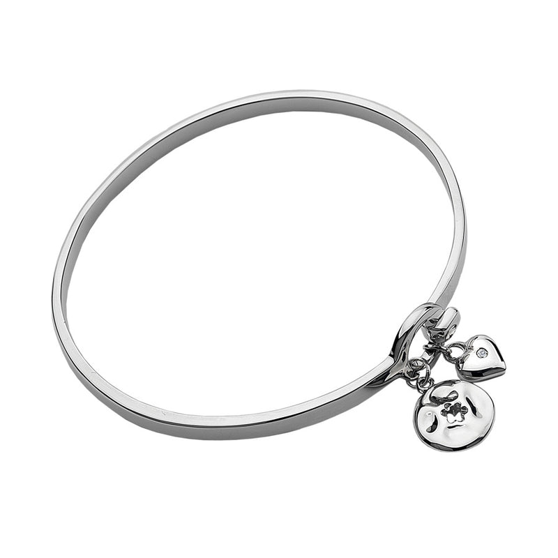 Heart & Flower Charms Bangle Hand-Set With A Diamond Accent