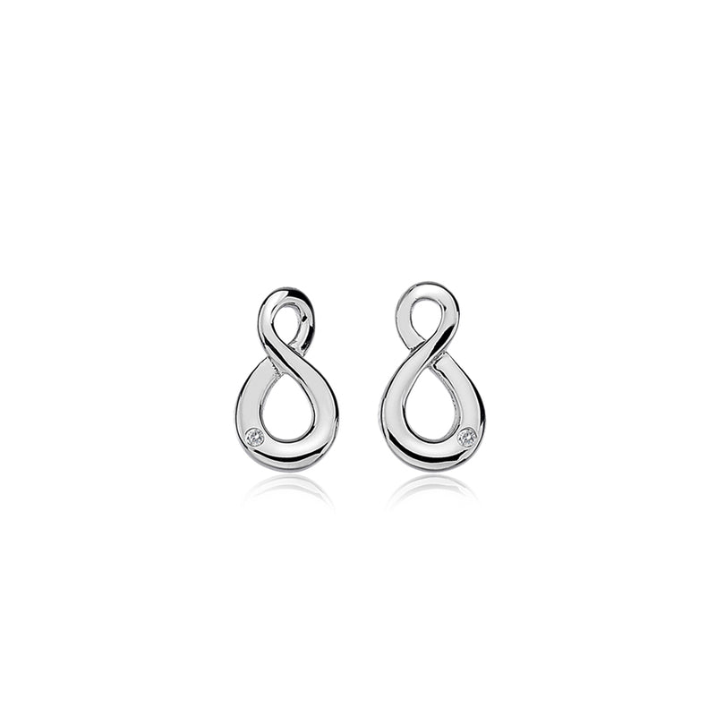 Figure Of Eight Stud Earrings Hand-Set With A Diamond Accent