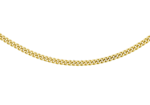 "18ct Yellow Gold 30 Adjustable Diamond Cut Curb Chain 41m/16"" - 46m/18""9"