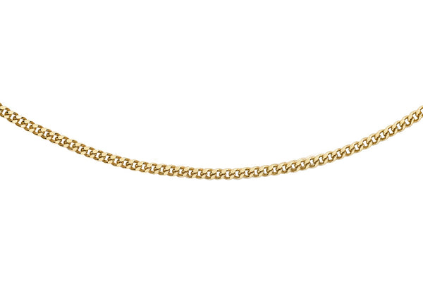 "18ct Yellow Gold 35 Diamond Cut Curb Chain 41m/16""9"