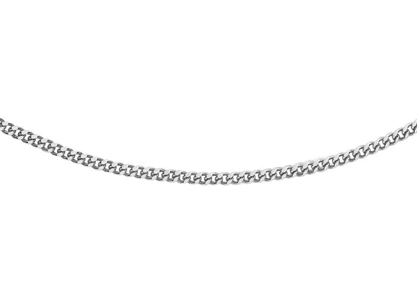 "18ct White Gold 25 Diamond Cut Curb Chain 41m/16""9"
