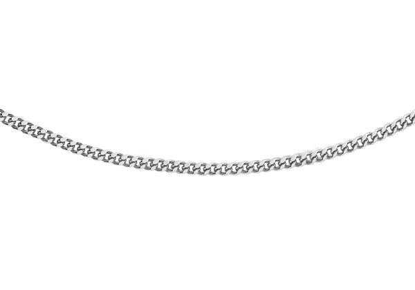 "18ct White Gold 20 Diamond Cut Curb Chain 46m/18""9"
