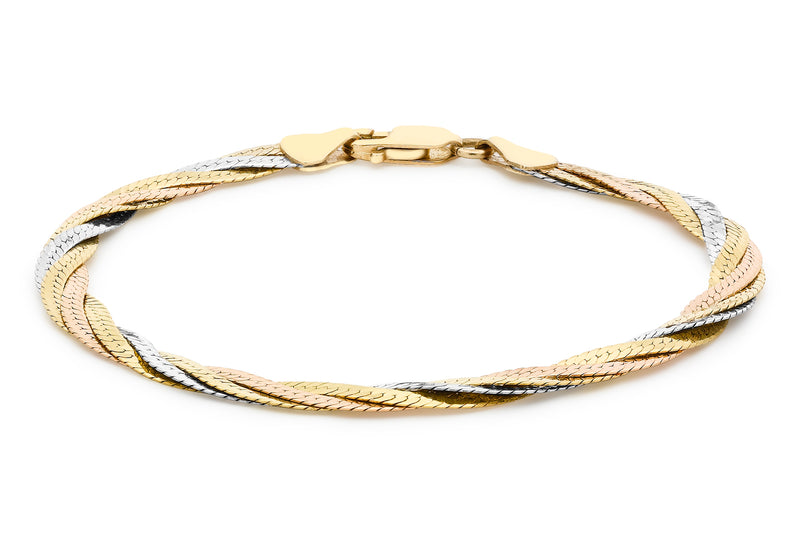 Gold Twist Herringbone Bracelet 18ct 3-Colour9