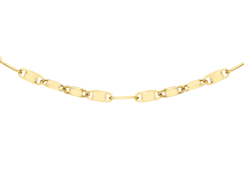 18ct Gold Sparkle Flat Link Chain