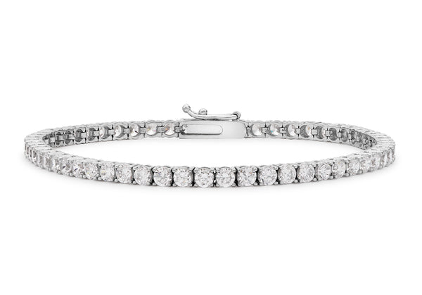18ct White Gold Round Zirconia  Tennis Bracelet