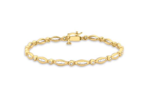 18ct Yellow Gold 1.00t Baguette and Round Diamond Bracelet