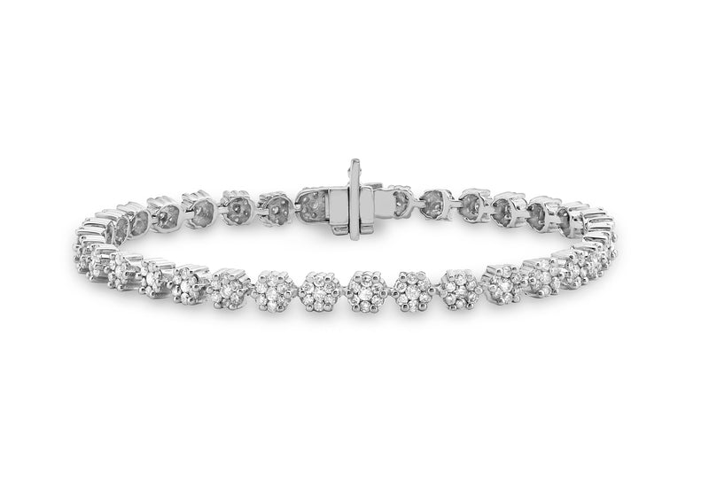 18ct White Gold 2.90ct Invisible Set Diamond Cluster Bracelet