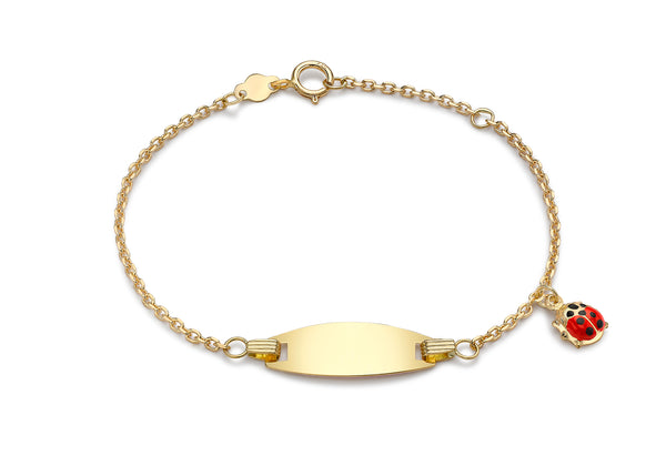 Ladybird Charm Child's Adjustable ID Bracelet 18ct Gold