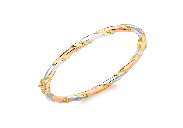 Twist Polished Tri-Colour 18ct Gold Bangle