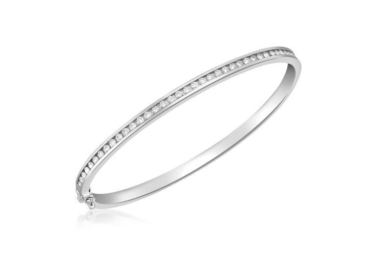 18ct White Gold 1.00t Diamond Bangle