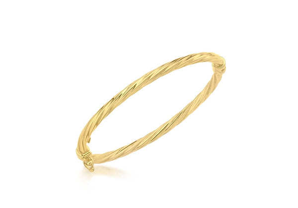18ct Yellow Gold Twist Oval Baby Bangle