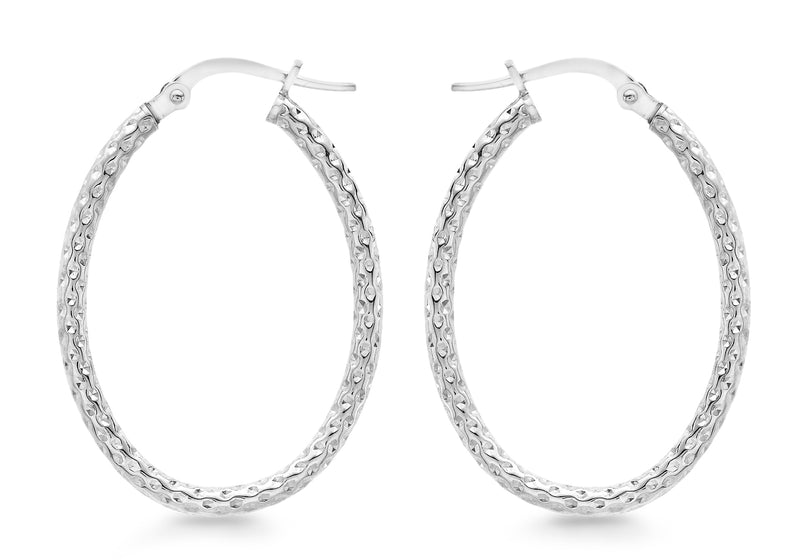 9ct White Gold 22mm x 31mm Diamond Cut Oval Creole Earrings