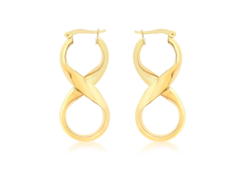 18ct Yellow Gold 'Figure 8' Creole Earrings