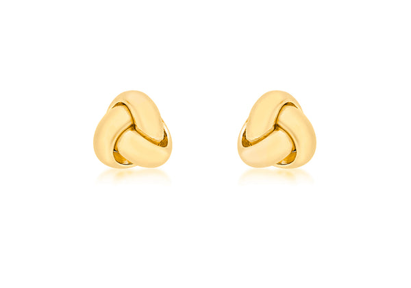 18ct Yellow Gold 8mm Knot Stud Earrings