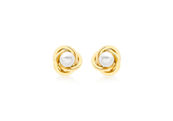 18ct Yellow Gold Knot and Pearl Stud Earrings