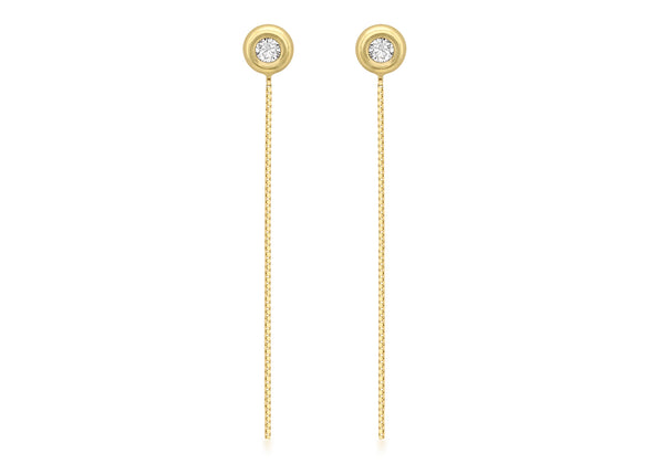 18ct Yellow Gold Zirconia  and Box Chain Drop Earrings