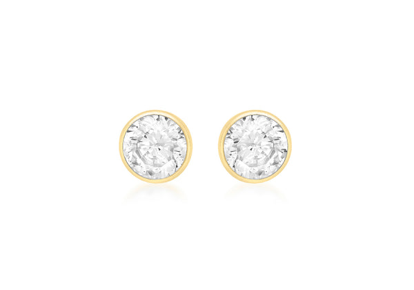 18ct Yellow Gold 5mm Round Zirconia  Stud Earrings