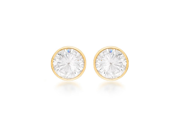 18ct Yellow Gold 4mm Zirconia  Round Stud Earrings