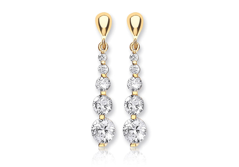 18ct Yellow Gold Zirconia  5-Stone Graduated Drop Earrings