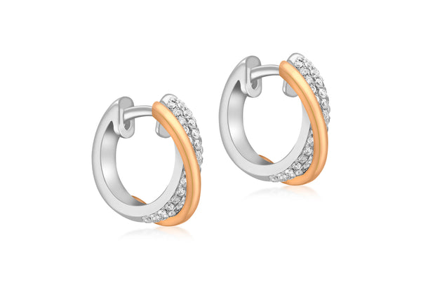18ct 2-Colour Gold 0.55t Diamond Crossover Hoop Earrings