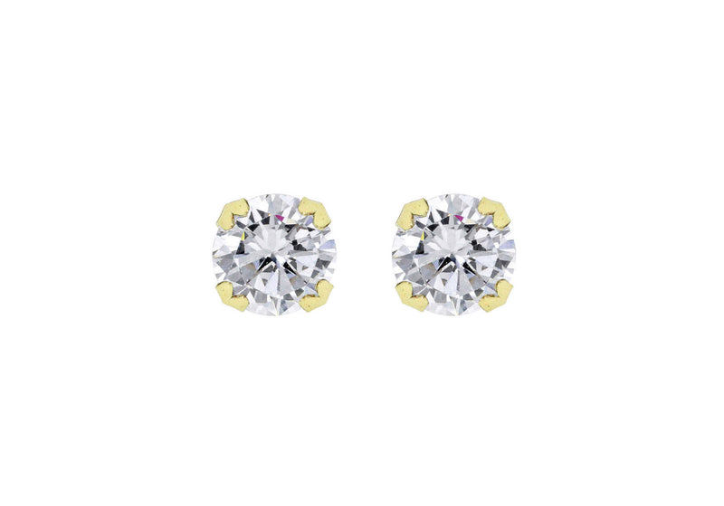 18ct Yellow Gold 8mm Zirconia  Stud Earrings