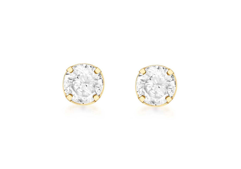 18ct Yellow Gold 4mm Zirconia  Stud Earrings