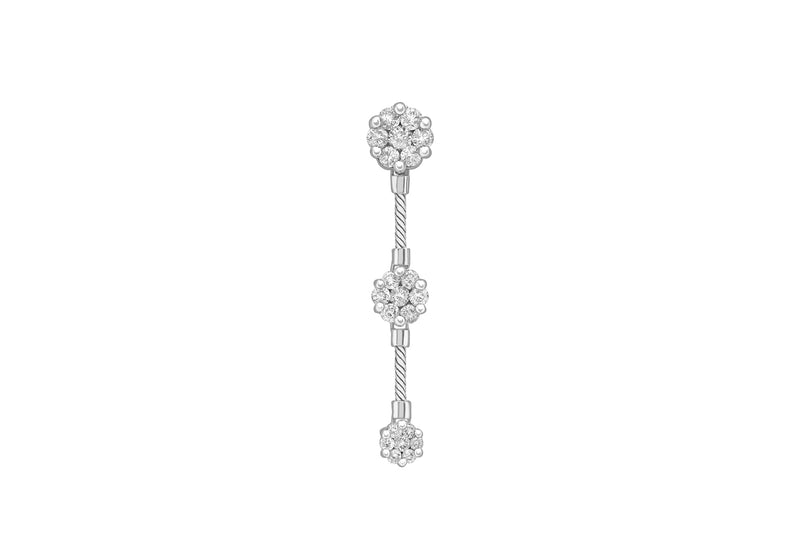 18ct White Gold 1.00t Diamond Cluster Trilogy Pendant