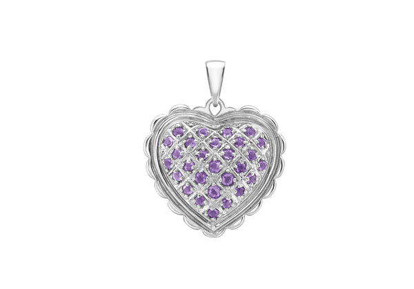 18ct White Gold Amethyst Sallop Edge Heart Pendant
