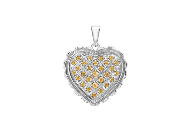 18ct White Gold Citrine Scallop Edge Heart Pendant