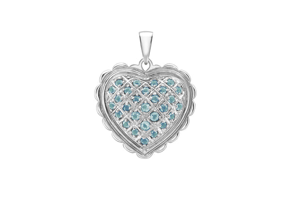 Blue Topaz Sallop Edge Heart Pendant 18ct White Gold
