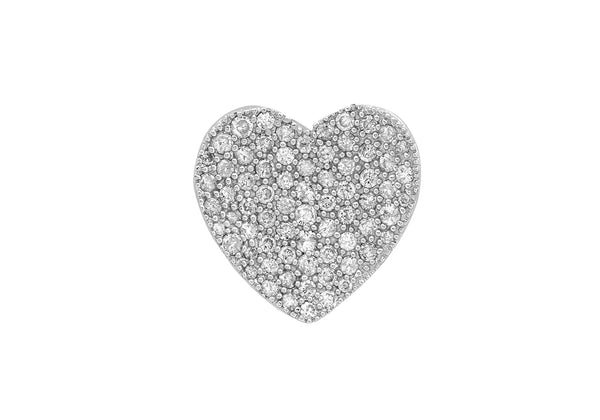 18ct White Gold 1.35t Pave Set Diamond Heart Pendant