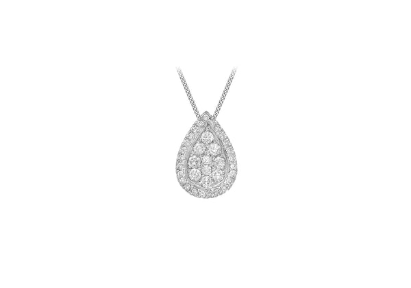 18ct White Gold 0.40ct Diamond Pave Set Teardrop Slider Pendant