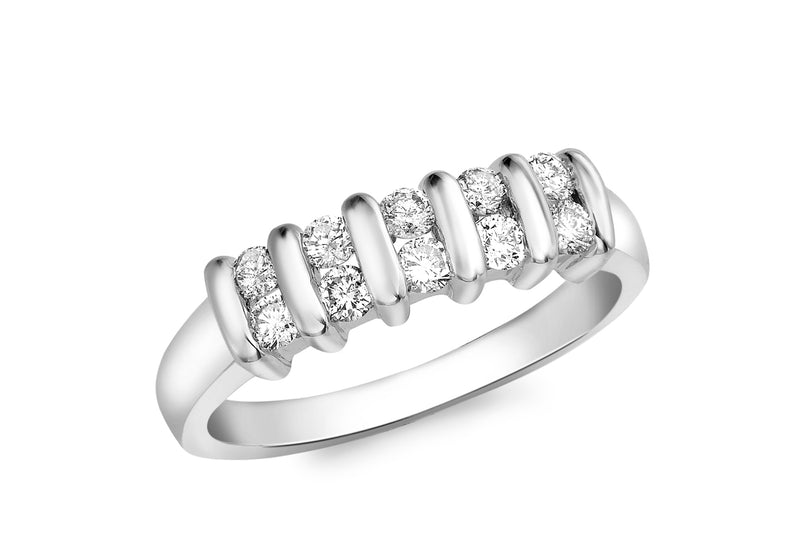 18ct White Gold 0.40t Diamond Double-Row Channel Set Ring