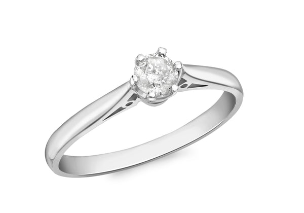 18ct White Gold 0.25t Diamond Solitaire Ring