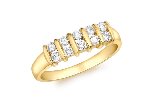 18ct Yellow Gold 0.40t Diamond Double Row Channel Set Ring