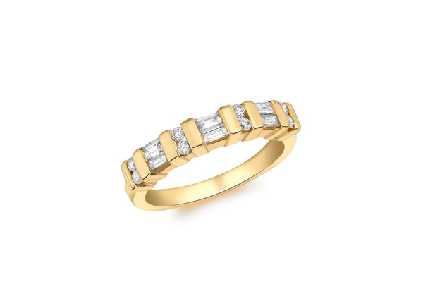 18ct Yellow Gold 0.35t Baguette and Round Cut Diamond Channel Set Half Eternity Ring