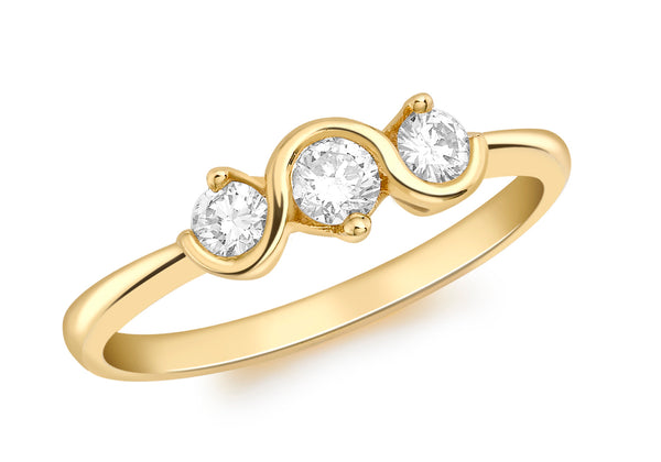 18ct Yellow Gold 0.35t Diamond 3-Stone Claw Set Swirl Ring
