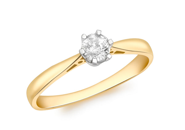 18ct Yellow Gold 0.25t Diamond Solitaire Ring