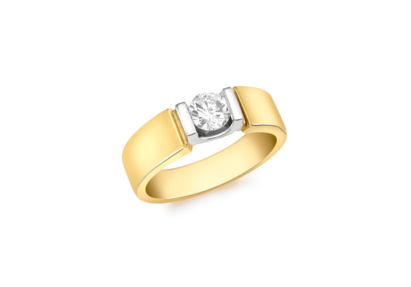 18ct Yellow Gold 0.50ct Diamond Solitaire Satin Band Ring