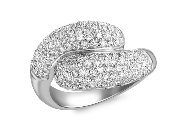 18ct White Gold 1.00ct Diamond Pave Set Crossover Ring