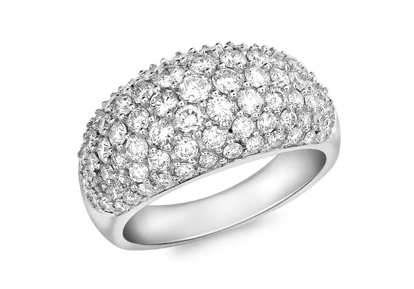 18ct White Gold 2.00t Diamond Pave Set Dome Ring