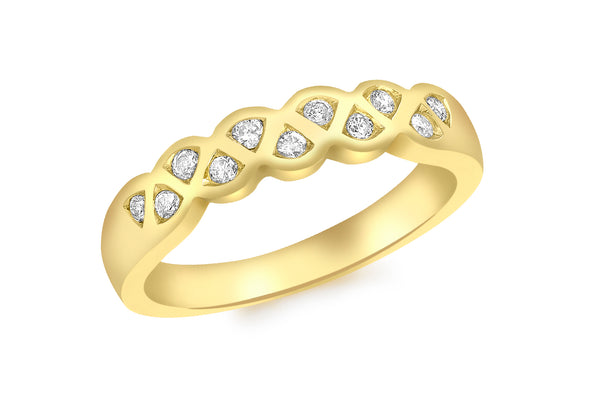18ct Yellow Gold 0.15t Diamond 11-Stone Ring