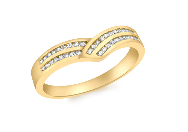 18ct Yellow Gold 0.15t Diamond Wishbone Ring
