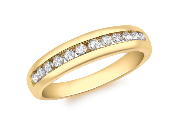 18ct Yellow Gold 0.50ct Diamond Channel Set Half Eternity Ring