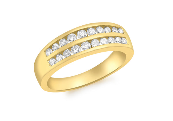 18ct Yellow Gold 0.50ct Diamond Channel Set Double Row Half Eternity Ring