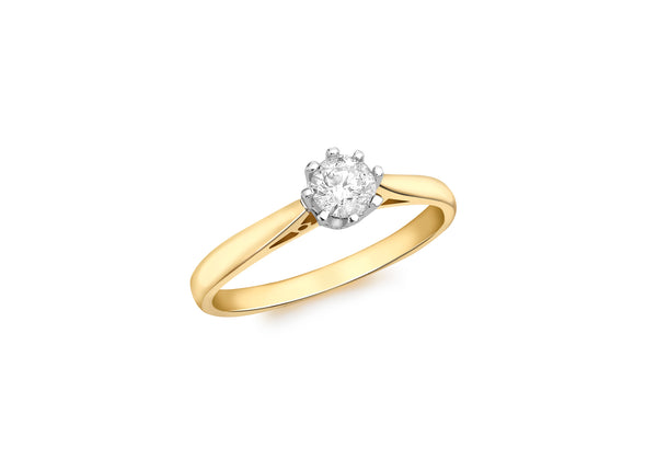 18ct Yellow Gold 0.33t Diamond Solitaire Ring