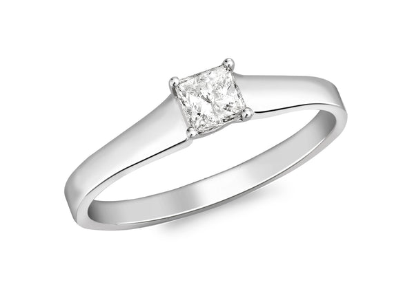 18ct White Gold 0.25t Square Cut Diamond Claw Set Solitaire Ring